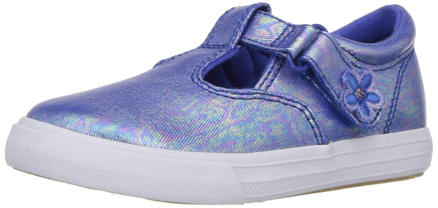 Keds Daphne T-Strap Sneaker (Toddler/Little Kid), Blue Iridescent, 12 M US Little Kid