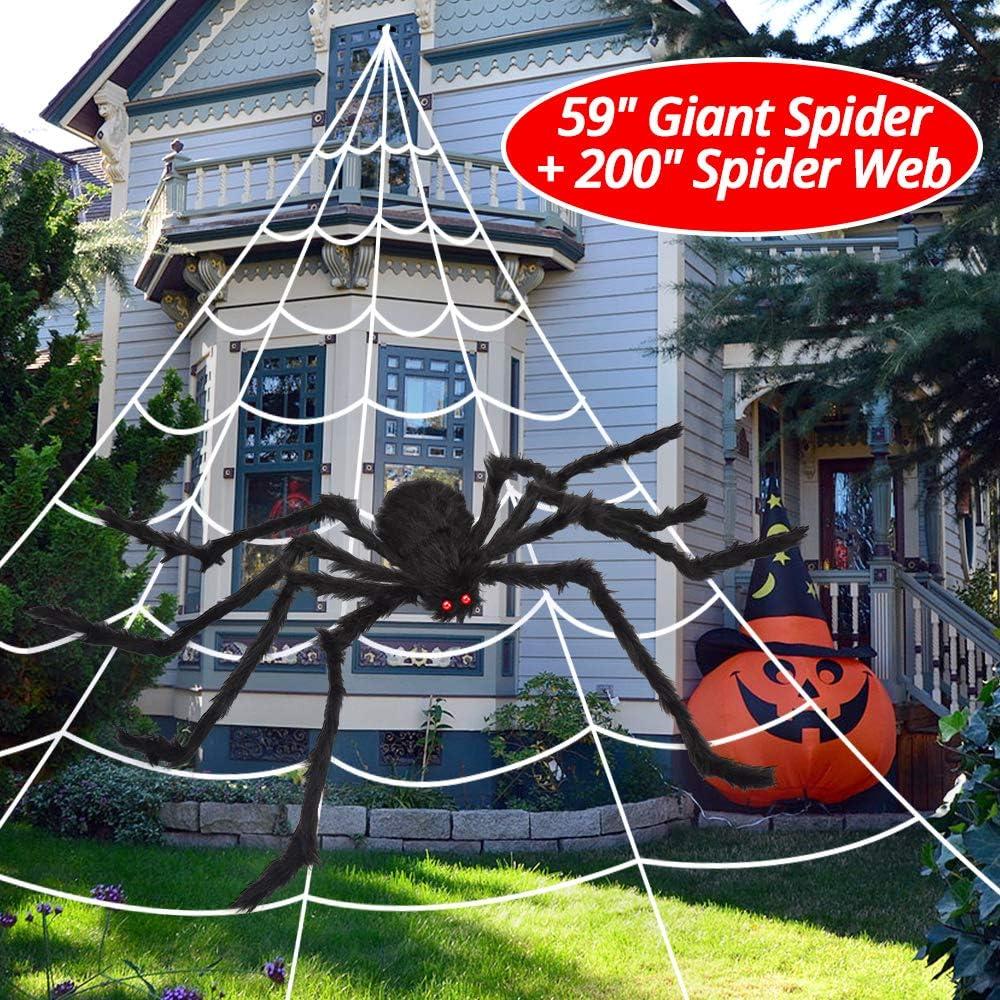 """OCATO 200"""" Halloween Spider Web 59"""" Giant Spider Decorations Fake Spider with Triangular Huge Spider Web for Indoor Outdoor Halloween Decorations"""