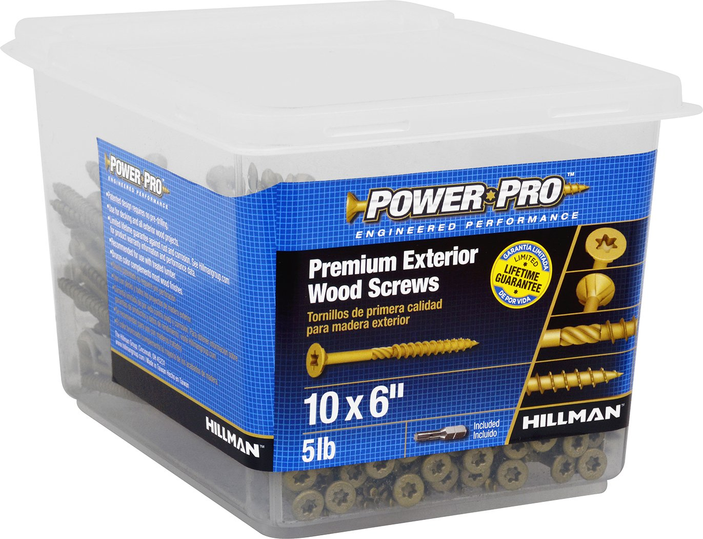 Hillman 48618 Power Pro Premium Exterior Wood Screw 10 X 6-Inch 191 pack The Hillman Group