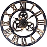 SOLEDI Wanduhr Europäische Vintage Handarbeit 3D Dekorative Zahnrad aus Holz (Farbe Kupfer)
