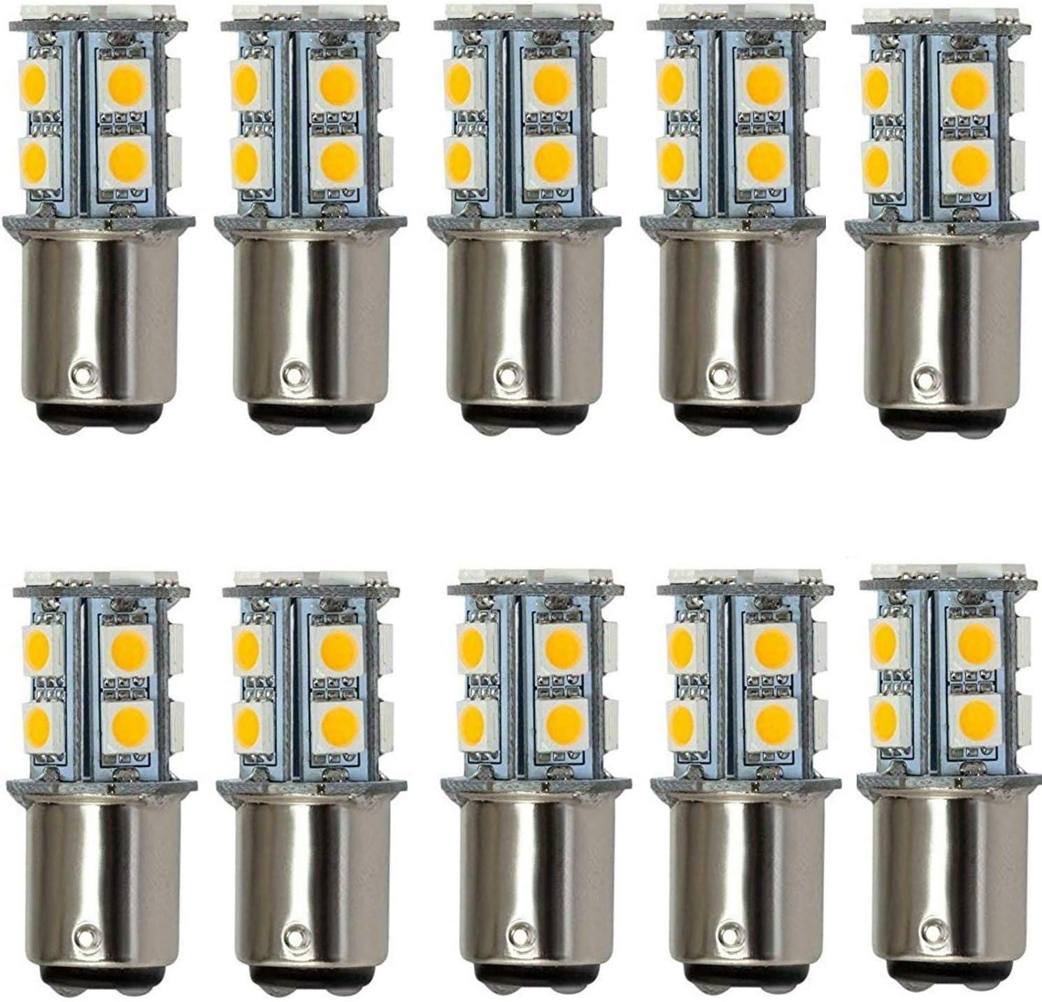 AIYOWEI BA15D 1142 1076 1176 - Bombilla LED para coche (13-5050SMD AC/DC12V 24V, luz blanca cálida, 10 unidades)