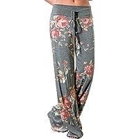 d80a9fb9c616 NEWCOSPLAY Women s Comfy Stretch Floral Print High Waist Drawstring Palazzo  Wide Leg Pants