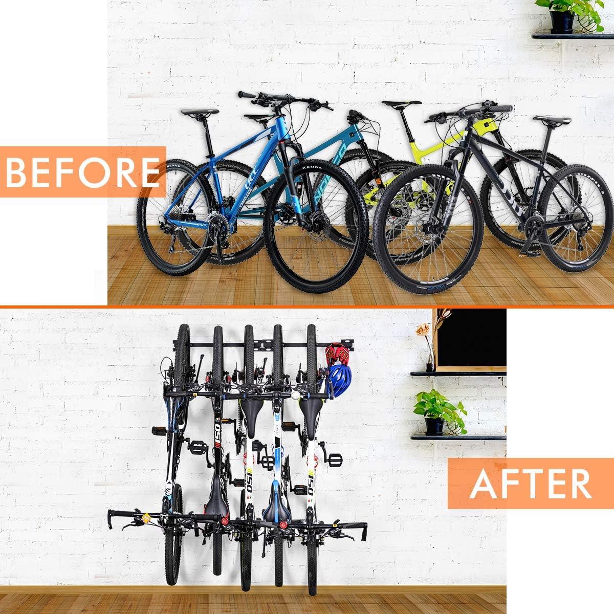 Portabici da Bicicletta Bicicletta Pieghevole Montata a Parete Portabiti da Bici Supporti per Rack per Biciclette 5 Sistemi di Deposito per Biciclette Regolabili per Casa e Garage