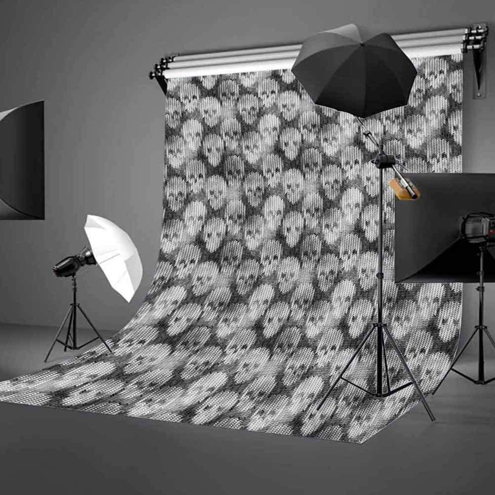 Skull 10x12 FT Photo Backdrops,Knitting Chevron Texture with Brainpan Head Bone Ghostly Creepy Pattern Image Background for Baby Shower Bridal Wedding Studio Photography Pictures Grey Black White