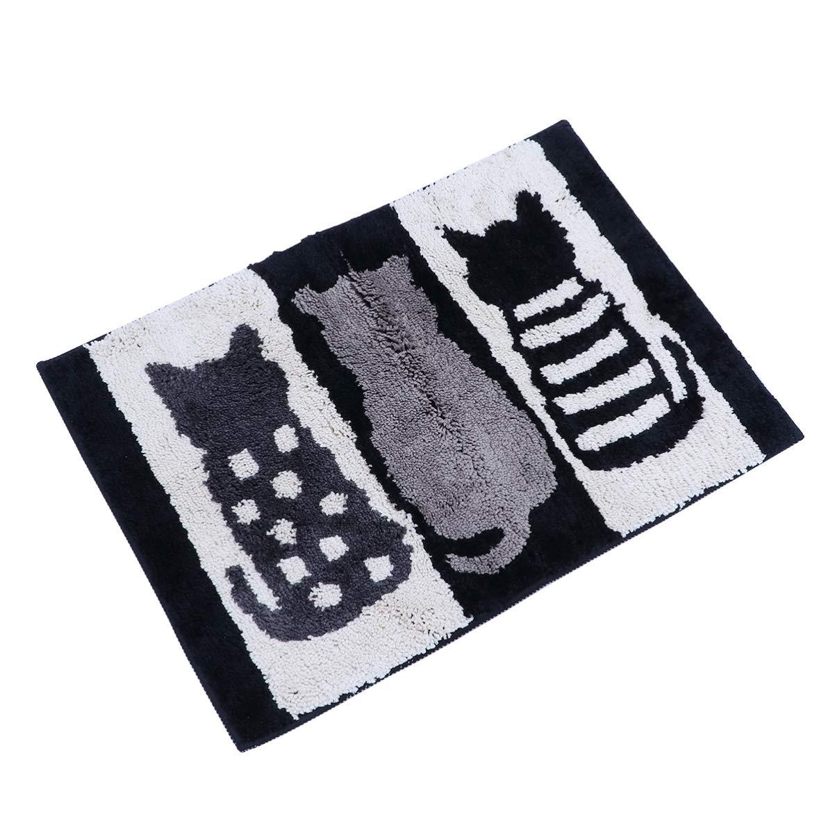 Vosarea Door Mat Water Absorption Cat Non-slip Cute Flocking Footpad Household Mat for Bathroom Bedroom Kitchen
