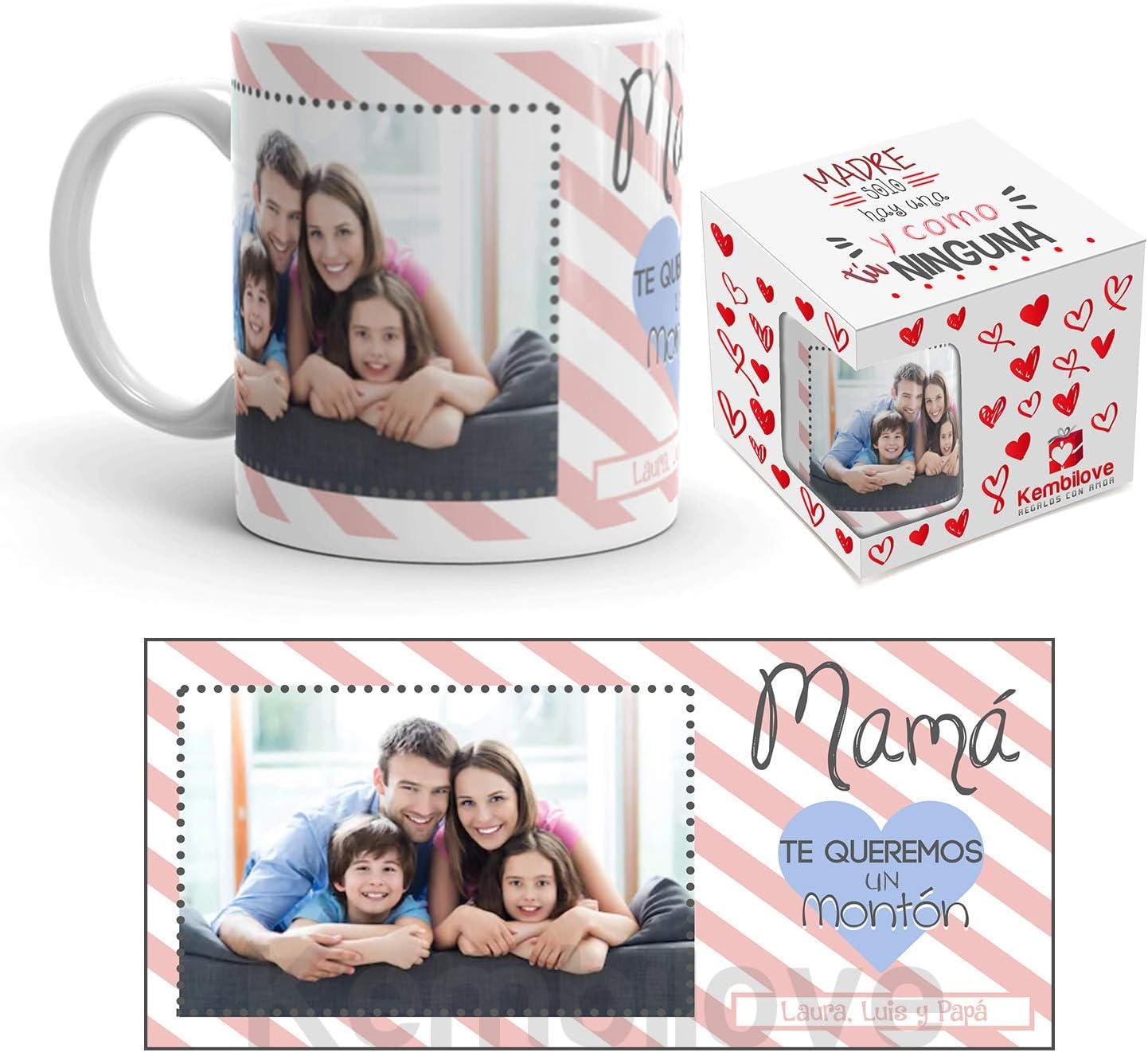 Kembilove Taza de Café Mamá te Queremos un montón – Taza de Desayuno con Foto Personalizada – Taza de Café y Té para Regalo Original Mamá – Taza de Cerámica Impresa – Tazas de de 350 ml