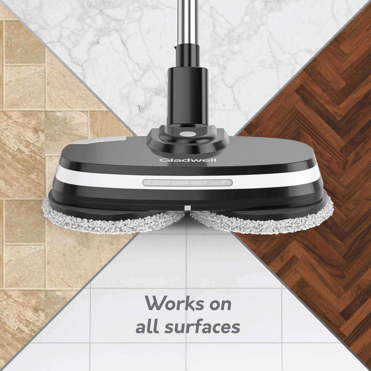 Gladwell Cordless Electric Mop - 3 In 1 Spinner, Scrubber, Waxer Quiet, Powerful Cleaner Spin Scrubber & Buffer, Polisher For Hard wood, Tile, Vinyl, Marble, Laminate Floor - 1 Year Warranty - Black by Gladwell (Image #5)