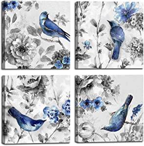 Canvas Wall Art Beautiful Watercolor blue Bird and flower Painting 4 pcs Wall Art Print on Contemporary Home Bedroom Wall Decoration Wrapped with Wooden Frame Ready to Hang (12x12inchx4pcs, blue1)