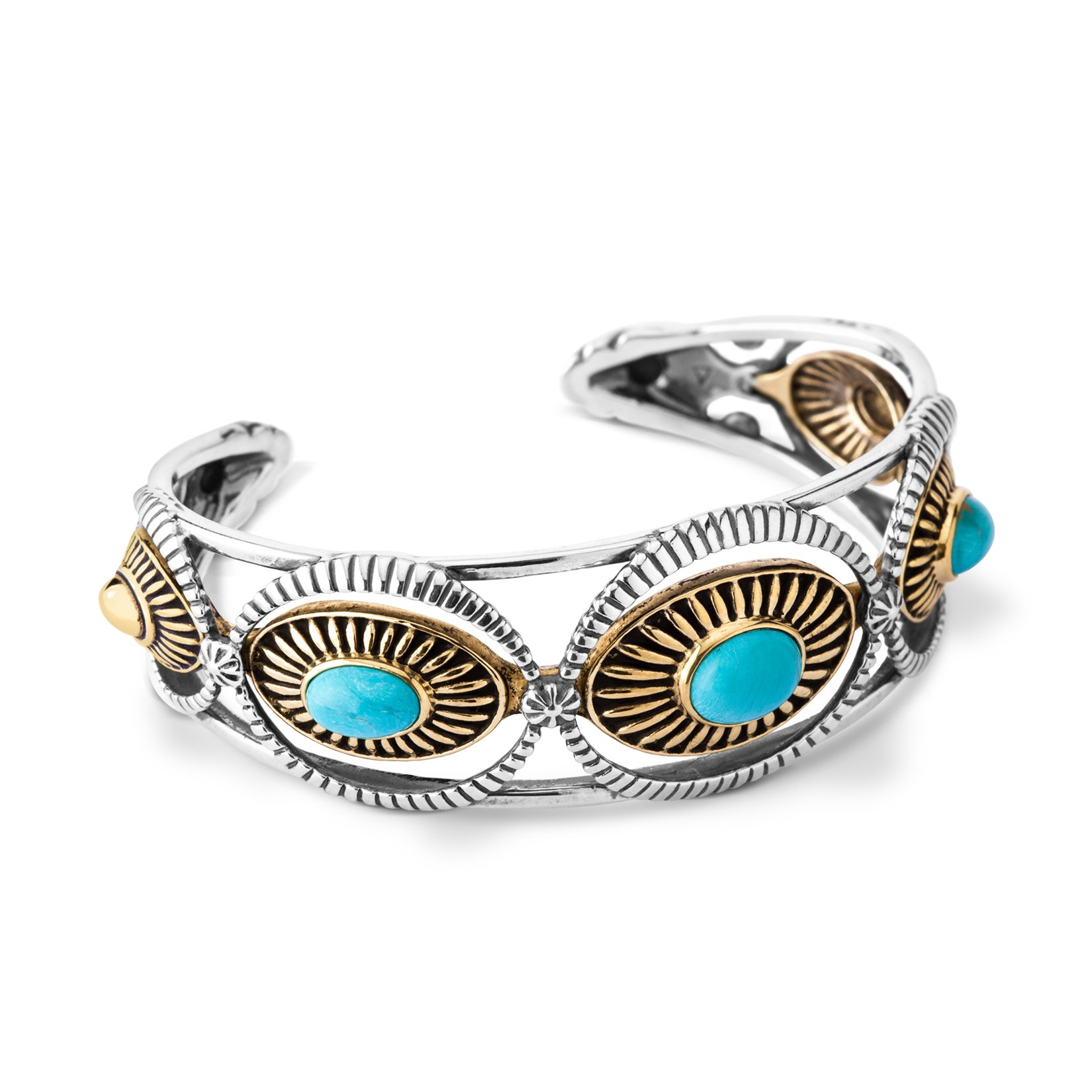 Fritz Casuse Sterling Silver Mixed Metal Turquoise Three-stone Cuff Bracelet, Small
