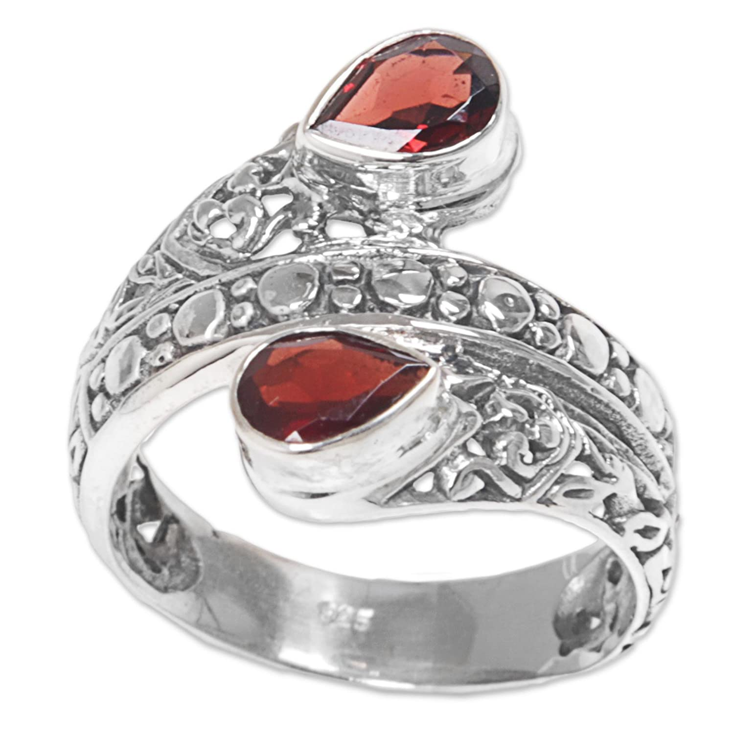 Novica Garnet cocktail ring, Red Udeng