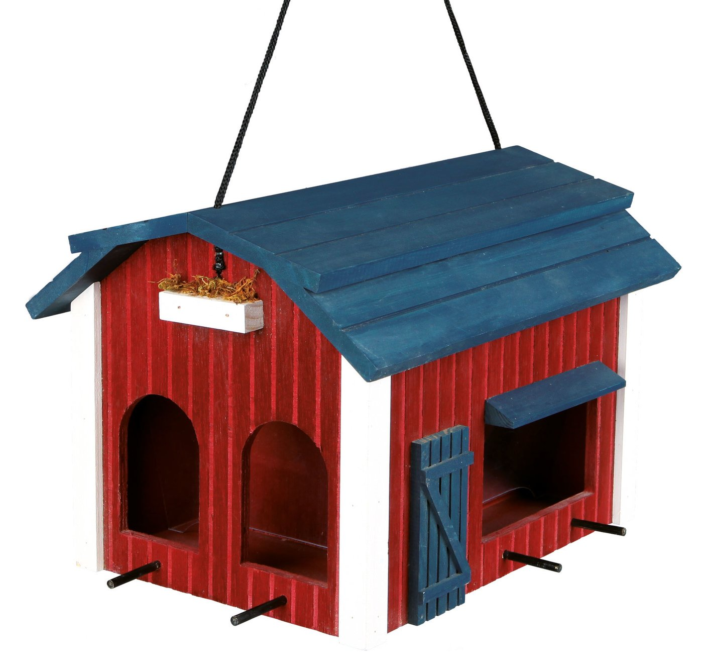 Trixie Mangeoire Suspendue Grange en Bois Rouge pour Oiseaux 24 x 22 x 32 cm 55853