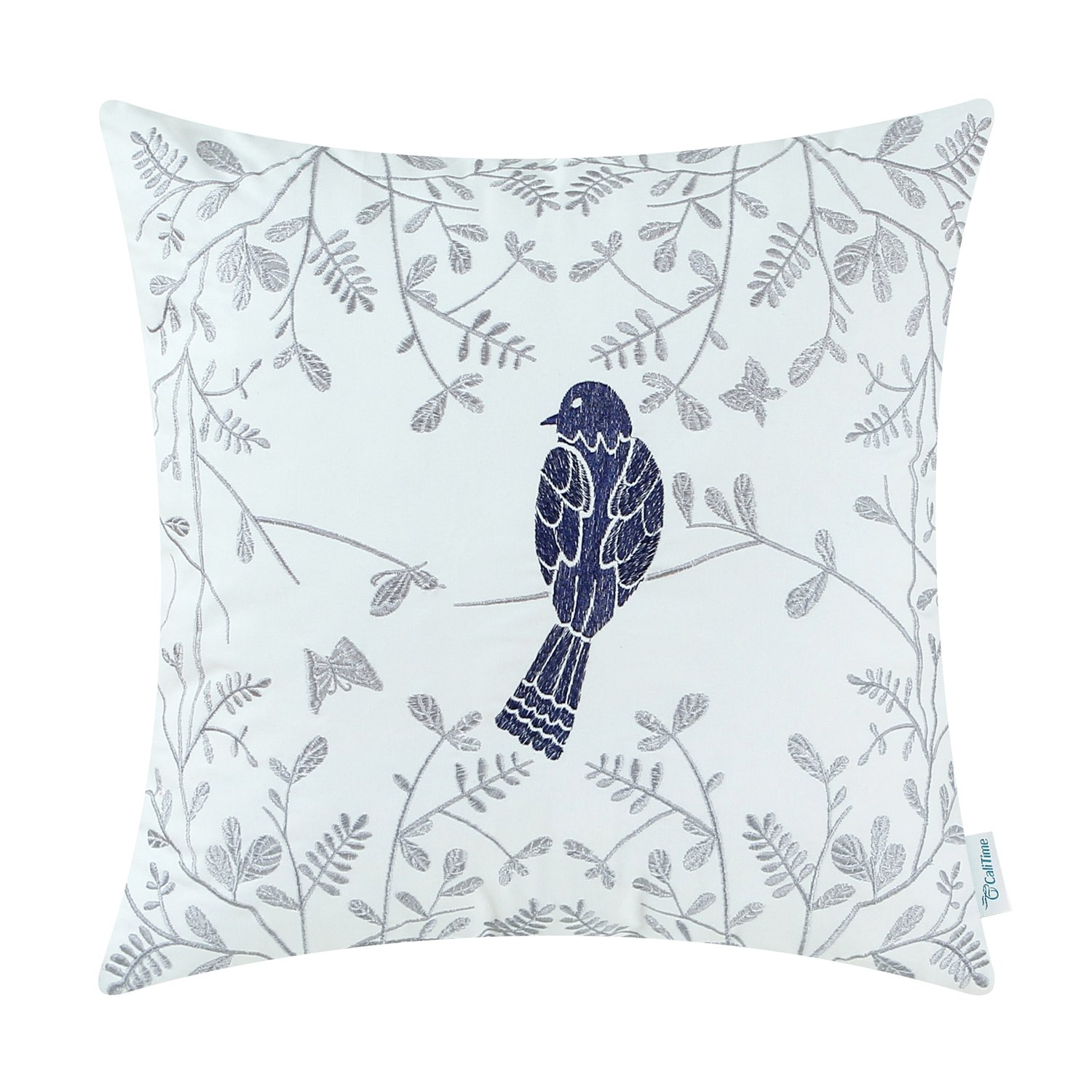 CaliTime Cotton Throw Pillow Case Cover Bed Couch Sofa Cute Bird in Gray Garden Embroidered 18 X 18 Inches Turquoise Qingdao PT Trading Co. Ltd. DSC0337G