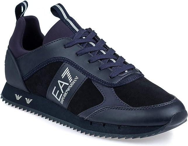Noir EA7 Hommes Daim Logo Trainer
