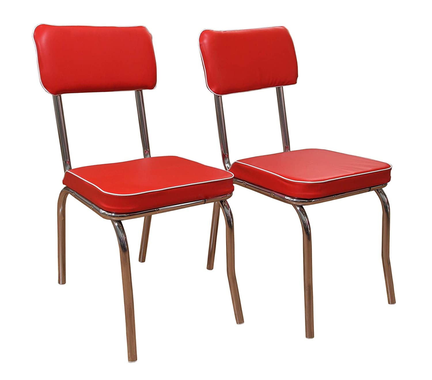 Amazon.com: Target Marketing Systems Set Of 2 Retro Upholstered Vinyl Dining  Chairs With Chrome Accents, Red: Kitchen U0026 Dining