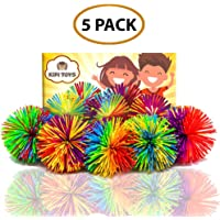 Fun Toy Stringy Balls Game Set of 5 Bundle Gift Box Bulk Relief Relax Fidget Play Squeeze Sensory Rainbow Splat Ball Monkey Toy Pom Pom Stress Ball Games for Kids Children Adults Office and Home