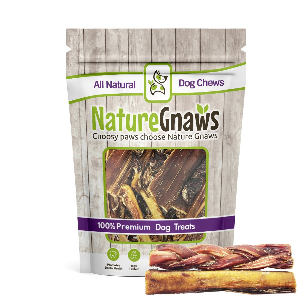 Nature Gnaws 5-6 inch Bully Sticks Combo Pack - (3) Braided & (3) Large Bully Sticks - Grass Fed Beef Dog Chews
