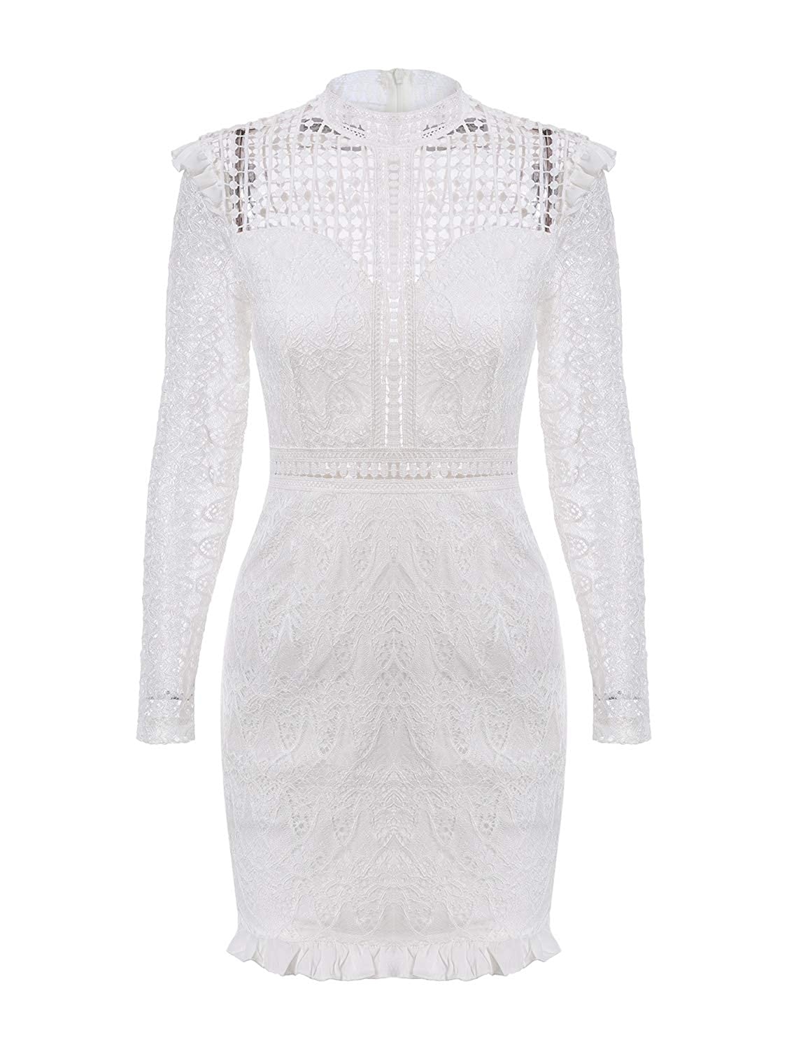 White Glamaker Women's Elegant Hollow Out Lace Dress Long Sleeve Bodycon Mini Ruffle Dress