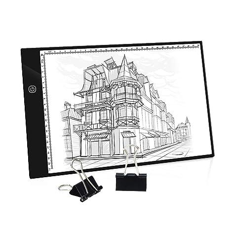 Mesa de Luz A4, Caja de Luz Portátil con USB, Control Táctil nteligente Regulable, Dibujo Portátil Almohadilla de Luz para Dibujo de Copia, Animación, ...