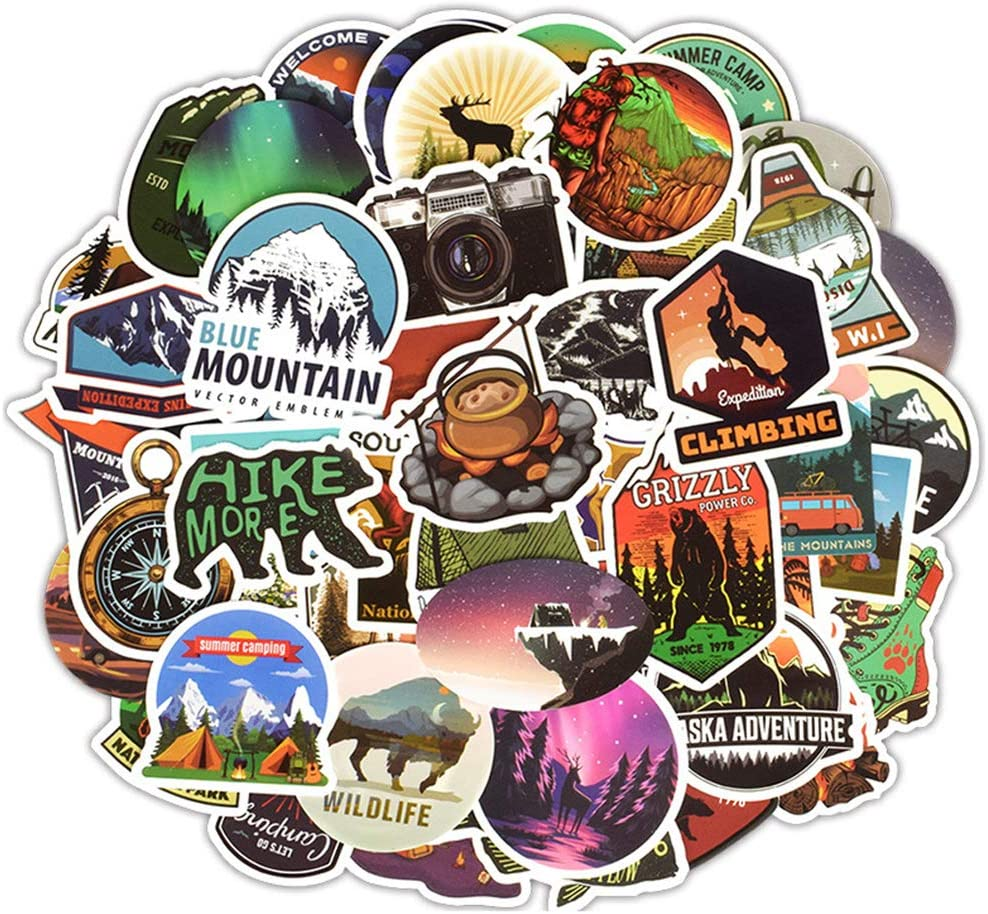 Nature Stickers Variety Vinyl Sticker Decals Laptop Stickers Outdoor Adventure Stickers Pack for Car Bumper Helmet Suitcase Water Bottle Stickers 50PCS (Outdoor)
