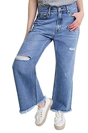 e7389564f2c Umgee Women's Mid Rise Light Wash Relaxed Wide Leg Jeans with Frayed Hem  and Distressed Details at Amazon Women's Jeans store