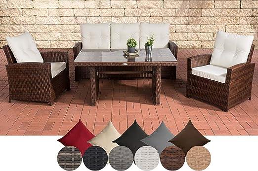 CLP Fisolo Set de muebles de jardín de ratán sintético, totalmente montado, con marco de aluminio,