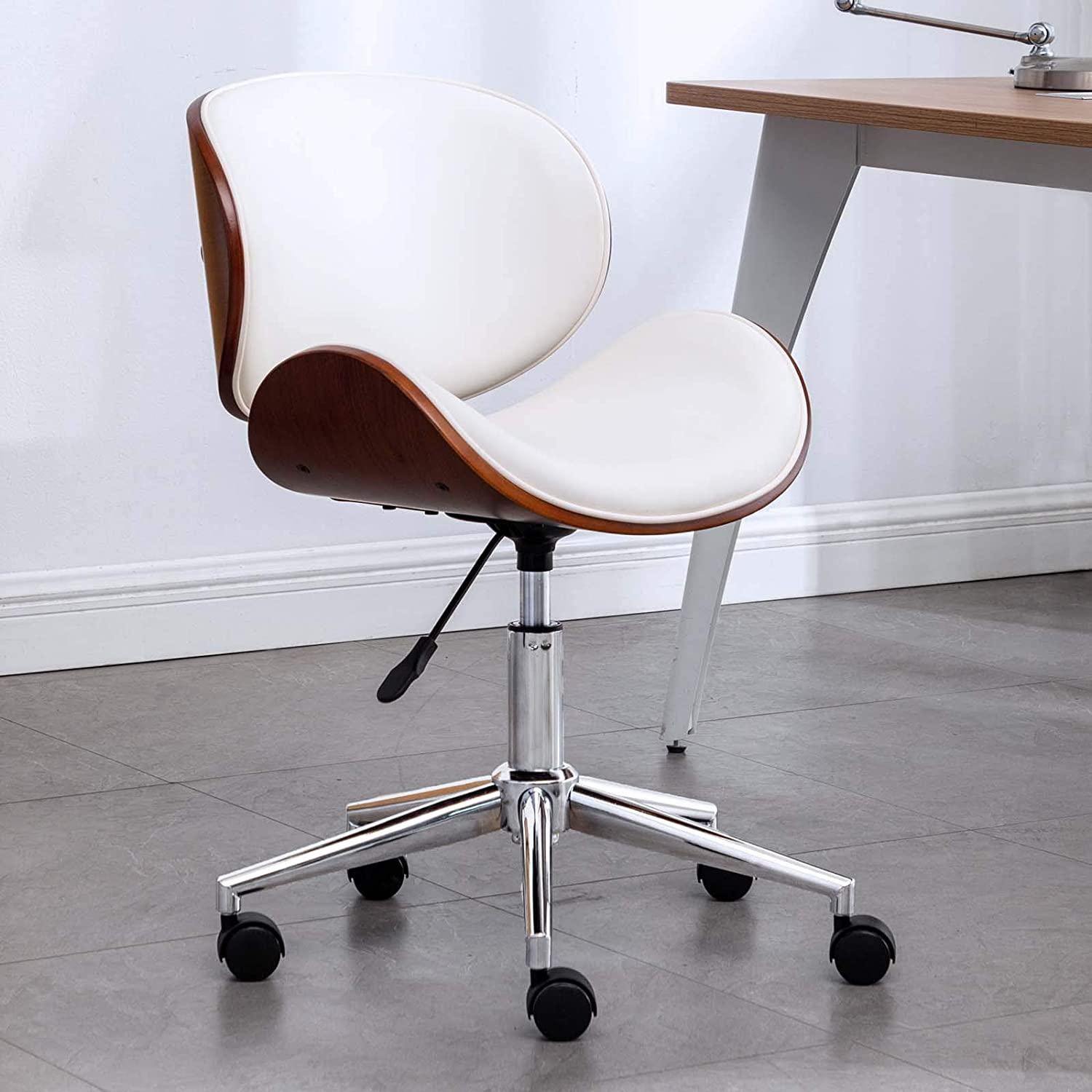 OKAKOPA Home Office Desk Chair, Vintage 360° Swivel Home Office Computer Task Executive Desk Armless Chair w/Adjustable Height (White Leather)