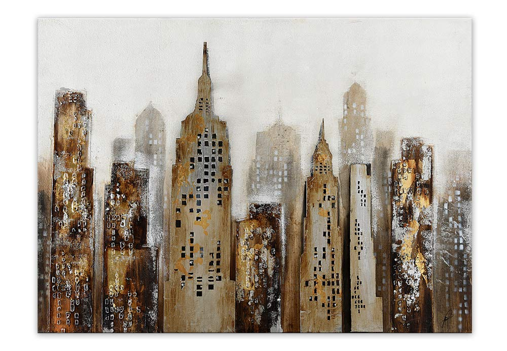 World Art TW60108 Aesthetic Wooden Frame City Landscape 90x120x3.5 cm Size: 36 x 48 x 2 Inch