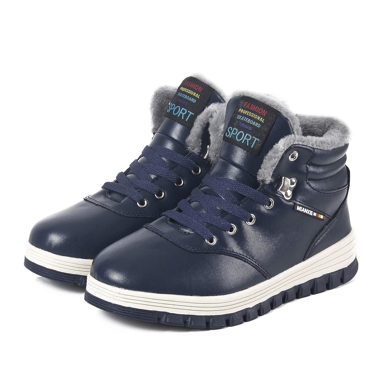 TALLA 39 EU. Hombre Invierno Botines Botas de Nieve Cálido Aire Libre Piel Botas Completamente Forrado Cuero Antideslizante Zapatos