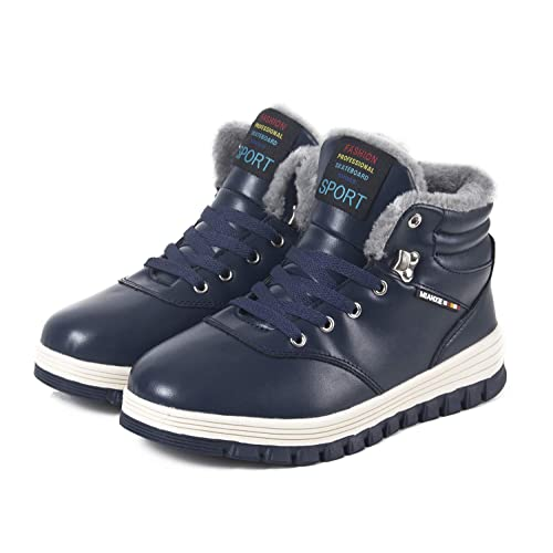 c1676148395 Winter Snow Boots Warm Mens Leather Cosy Waterproof Boots Fully Fur Lined  Walking Hiking Lace Up