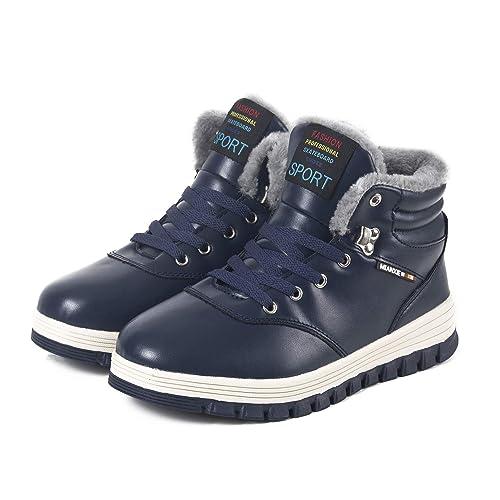 Hombre Invierno Botines Botas de Nieve Cálido Aire Libre Piel Botas Completamente Forrado Cuero Antideslizante Zapatos: Amazon.es: Zapatos y complementos