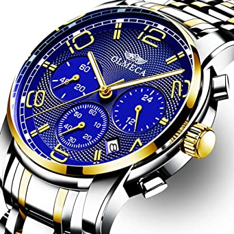 OLMECA Mens Watch Fashion Luxury Wrist Watches Analog Quartz Waterproof Chronograph Watch for Men Stainless Steel