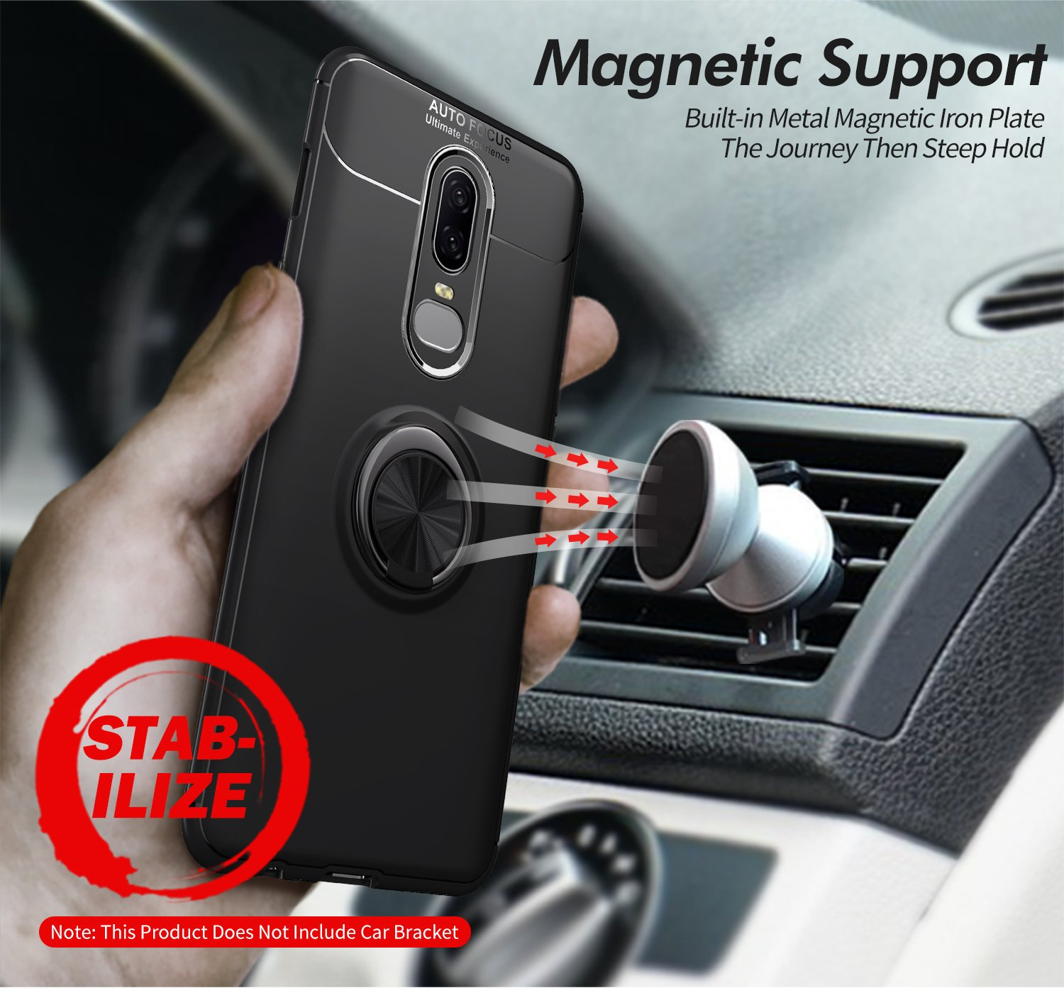 OnePlus 6T Case with HD Screen Protector,I VIKKLY Slim Flexible and Durable Soft [TPU] 360 Degree Rotating Ring Kickstand Shockproof Case Fit Magnetic Car Mount for OnePlus 6T 6.4'' (2018) (Navy Blue) by I VIKKLY (Image #7)