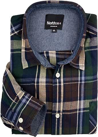 XXL Norte 56°4 Camisa de Manga Larga a Cuadros Verde-marrón-Azul, 2xl-8xl:2XL: Amazon.es: Ropa y accesorios