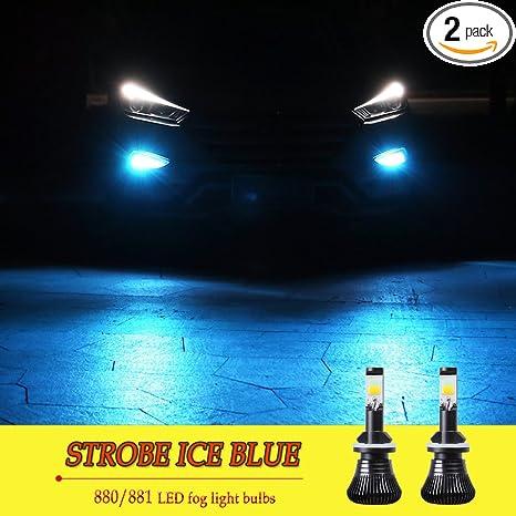 Amazon led 880 881 fog lights bulb ice blue 8000k strobe led 880 881 fog lights bulb ice blue 8000k strobe flicker daytime running lights drl lamps aloadofball Images
