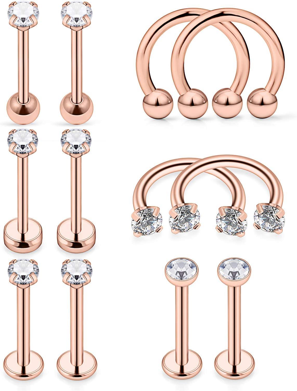 SCERRING 4 Pairs 20G Stainless Steel Ball Stud Earrings Set for Men Women Barbell Stud Earrings 3-6mm