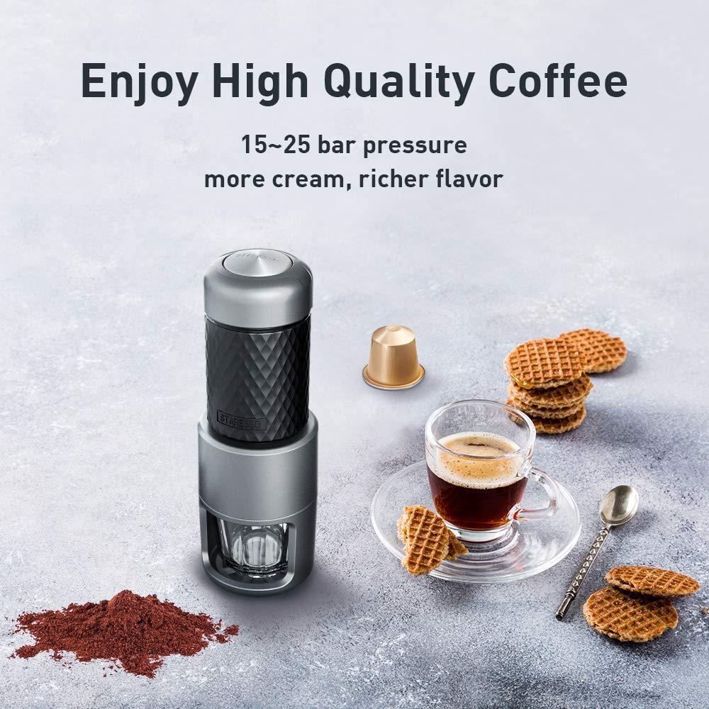 STARESSO Máquina de Café Manual Portátil,Multifuncion Mini Cafetera Espresso Cápsulas de Café Cappuccino Quick Cold Brew Todo-en-uno para Viajes en el Hogar ...