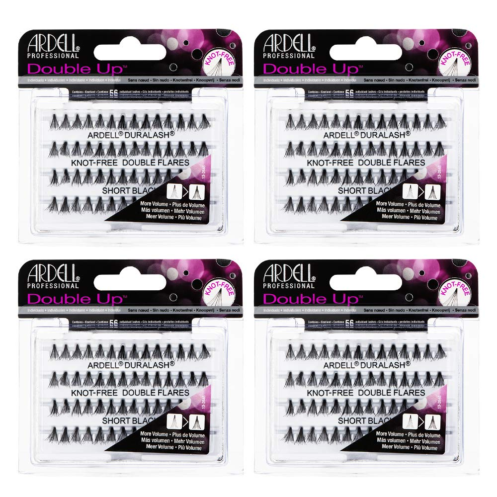 Ardell False Eyelashes Double Up Individuals Knot-Free Short Black 4 Pack