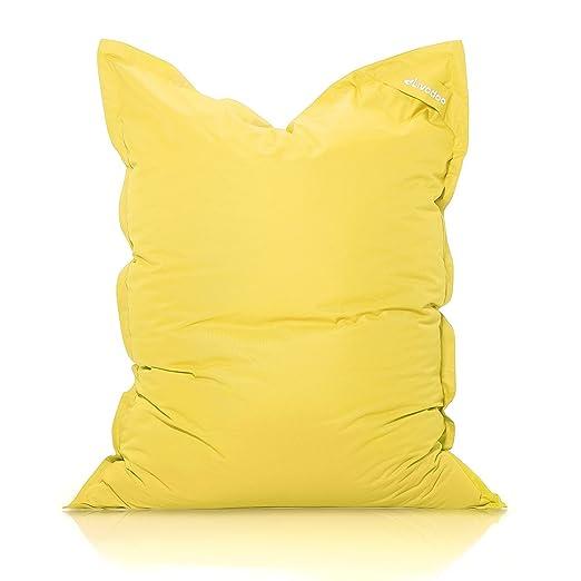 Livodoo® XXL Puf Gigante Amarillo 140 x180cm 400 litros Puff XXL Puff Asiento cojin Gigante Relleno Puff con Saco Interior en Amarillo