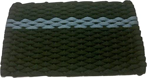 Rockport Rope Door Mats 2034373 Indoor Outdoor Doormats, 20 x 34 , Black with Light Blue Stripe