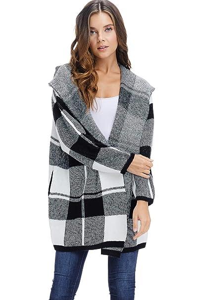 Amazon.com: Chaqueta de punto para mujer con capucha de ...