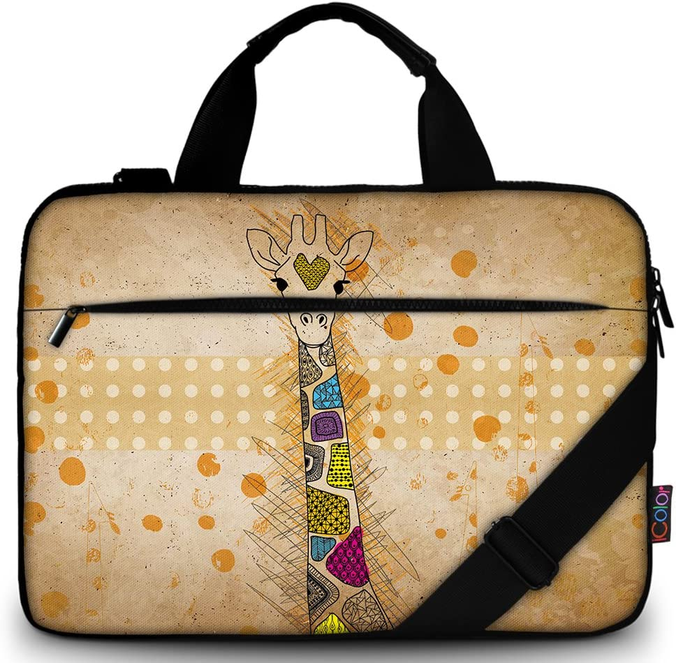 "iColor 14"" 15 15.4-inch Laptop Shoulder-Bag - Canvas Computer Tablet Protective Carrying Case 14-15.6 inch Notebook Briefcase with Handle (14""~15.6"", Giraffe)"