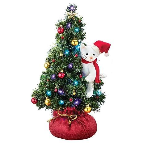 Amazon.com: Santa Cat Lighted Tabletop Christmas Tree: Home & Kitchen