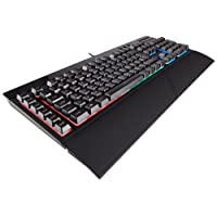 Corsair K55 RGB Membrane Gaming Keyboard (6 Programmable Macro Keys, 3-Zone RGB Backlighting, Multimedia Controls, UK Layout) - Black