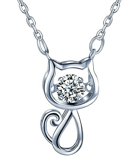 Yumi Lok 925 plata de ley circonitas gato gato colgante collar ajustable Collar con Colgante para mujer Chica: Amazon.es: Joyería