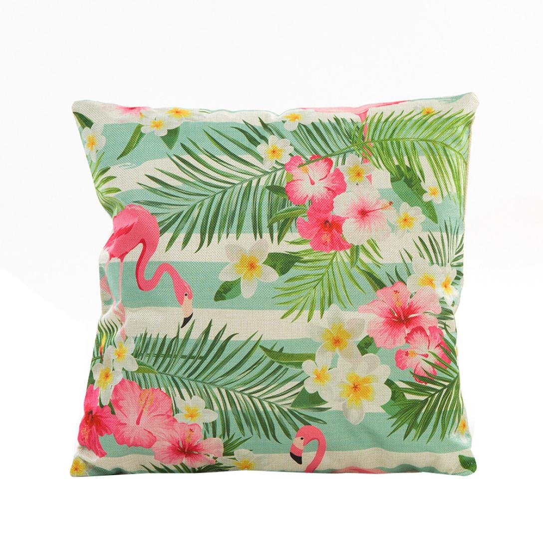 Indexp Natural Flower Grass Leaves Pattern Printing Throw Cushion Cover Sofa Home Decoration Pillow case (Style E)