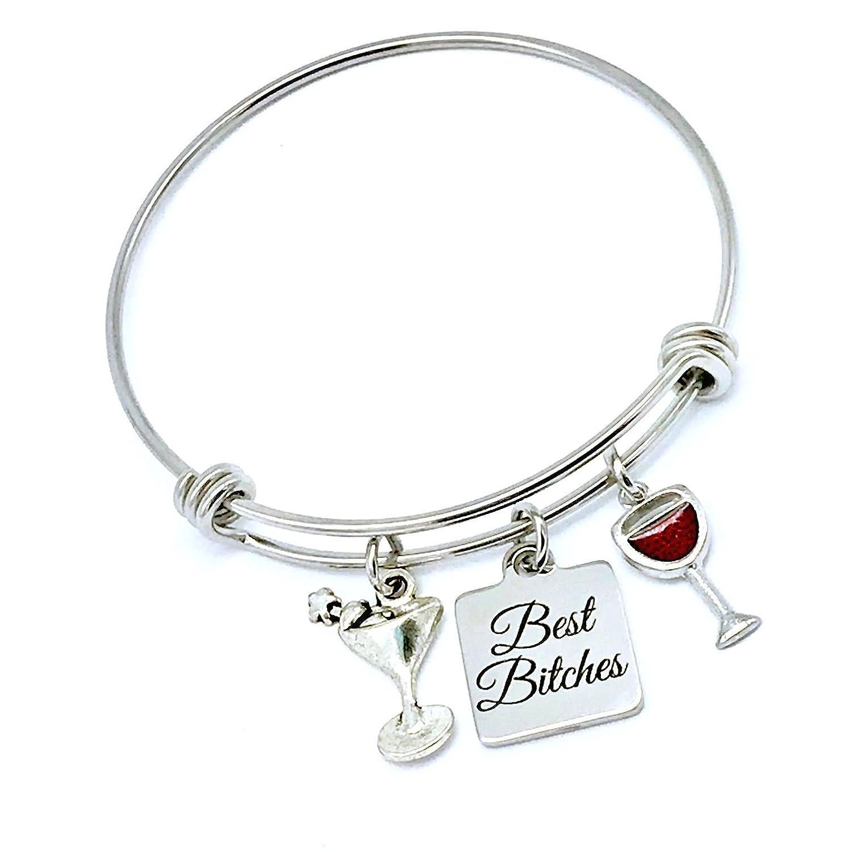 Best Bitches, Best Friends Wine, Cocktail Lovers Bangle Bracelet