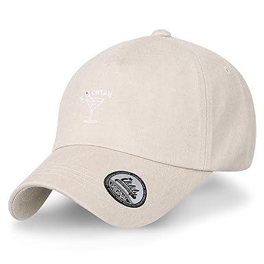 ililily Cocktail Line Embroidery Baseball Cap Cotton Strap Back Trucker Hat 576161223d5