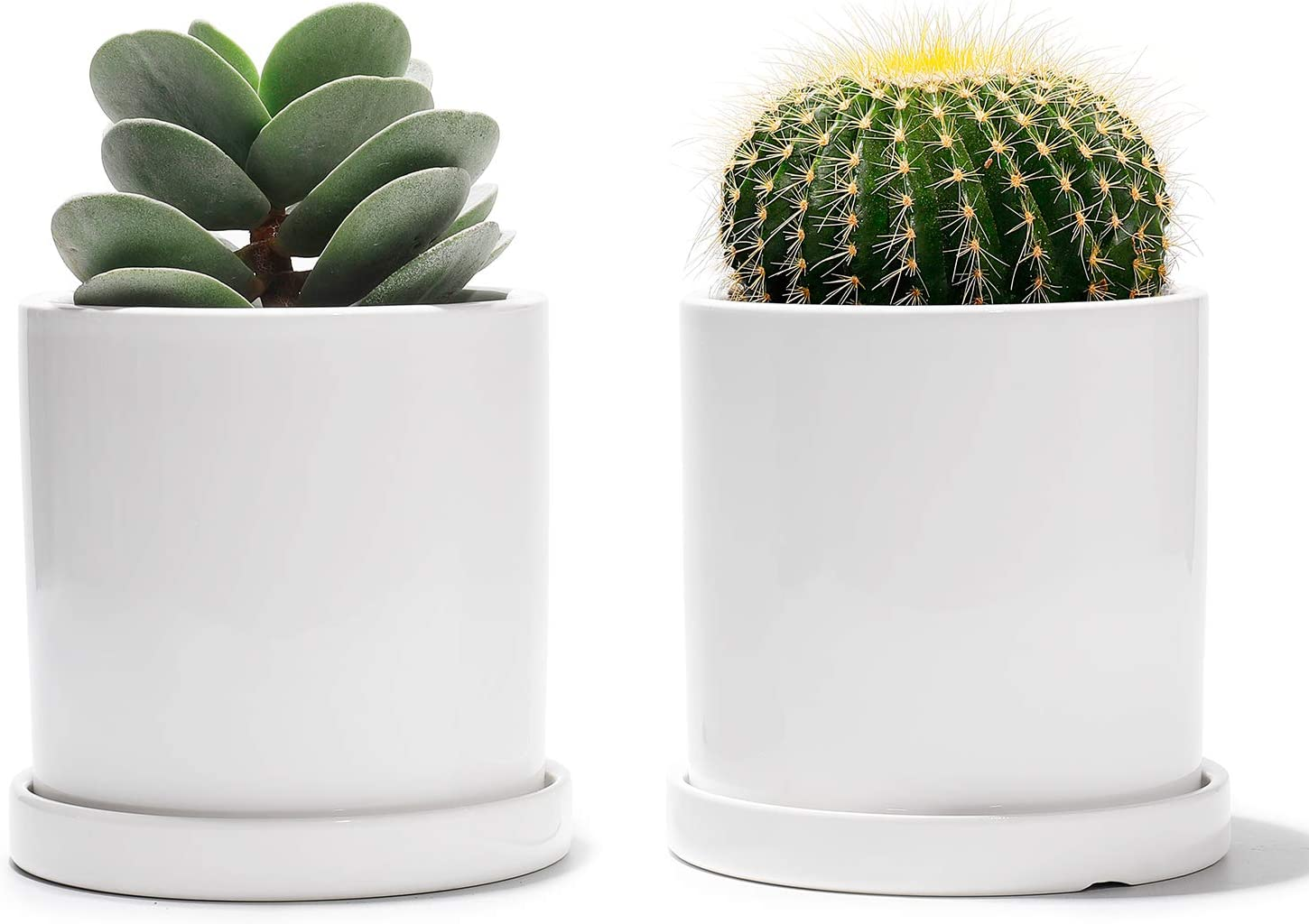 Potey Ceramic Plant Pots with Saucers – 3.8 Flower Planter Indoor with Drainage Medium Container Minimalism Round – Set of 2, Pure White
