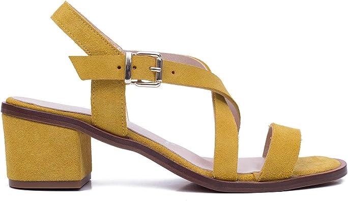 Look - Sandalias de Mujer con Tiras Cruzadas Mostaza: Amazon.es ...