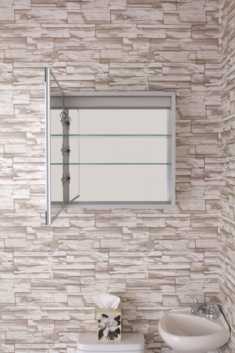 "Bathroom Medicine Cabinet, Aluminum, Recessed/Surface Mount, 24"" x 24"", Left Hand Hinged, Mirrored w/ 2 LED Strips"